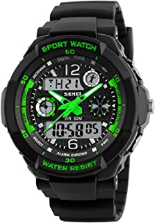 Mens Sports Waterproof Digital Dual Time LED Shock Watch Military Multifunctional Analog Wristwatch with Alarm Stopwatch B...