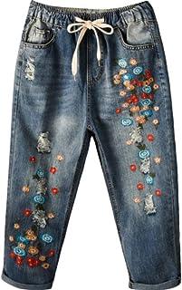 HOSD Mujer Jeans Bordado Mini Flor Cintura Elástica