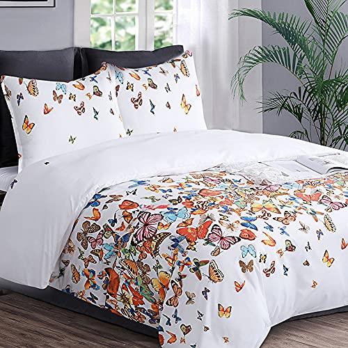 YEPINS Juego de ropa de cama de 135 x 200 cm, 100% microfibra, funda nórdica suave con cremallera y 1 funda de almohada de 80 x 80 cm, diseño de mariposas, multicolor