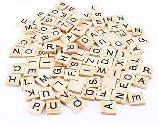 Delleu 100PCS Tuiles de Lettre du Bois Lettres de Capital en Bois de tuiles Scrabble A-Z pour l'artisanat, pendentifs, ort...