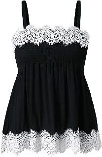 DADKA Fashion Womens Vest Casual Camis Sleeveless Crop Eyelash Lace Smocked Tank Tops Blouse