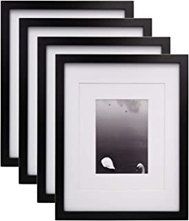 Egofine 11x14 Picture Frames 4 PCS Black - Made of Solid Wood for Table Top and Wall Mounting for Pictures 8x10/5x7 with Mat or Horizontally or Vertically Display Photo Frame Black