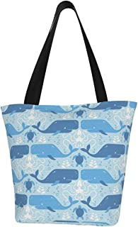 Lesif Einkaufstaschen, Wale Freunde in Blau, Segeltuch, Einkaufstasche, wiederverwendbar, faltbar, Reisetasche, groß und langlebig, robuste Einkaufstaschen