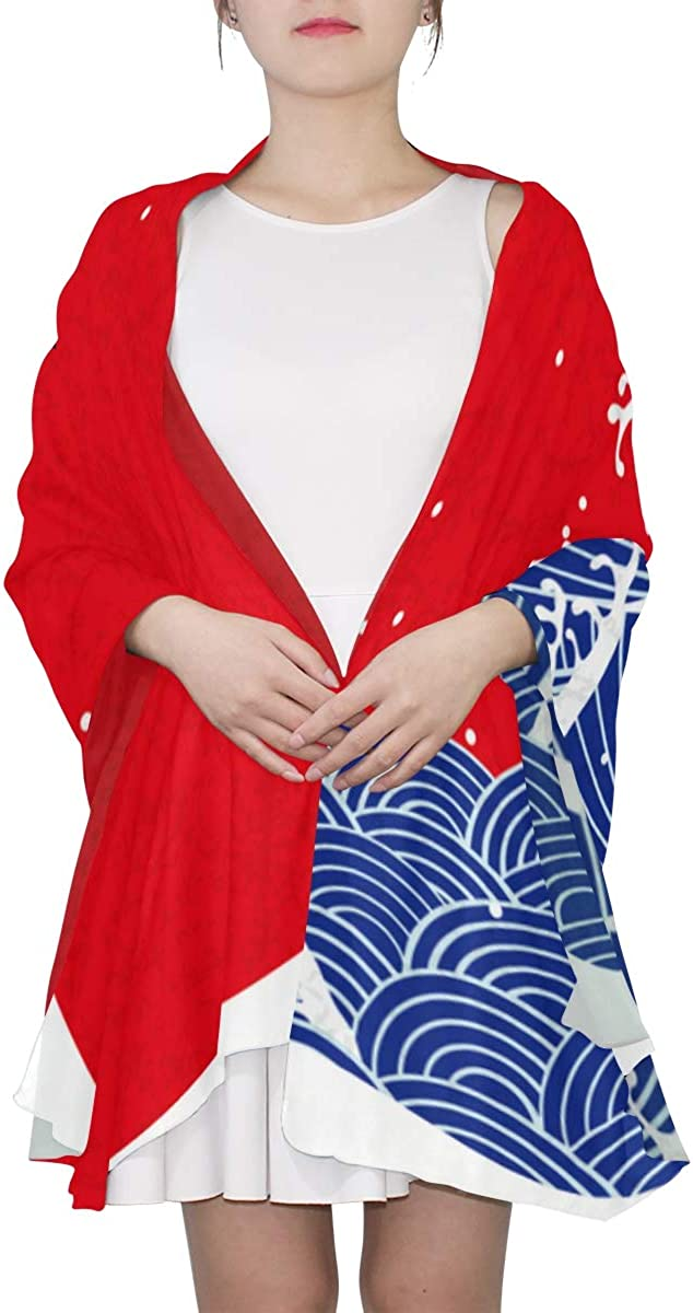 Asian Waves And Sun Unique Fashion Scarf For Women Lightweight Fashion Fall Winter Print Scarves Shawl Wraps Gifts For Early Spring