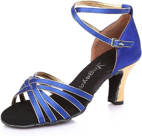 BYLE Sandalias de Cuero Tobillo Modern Jazz Samba schuhe de Baile schuhe de Baile Latino Adulto Transpirable Correas Zapato de Baile Gold Blau