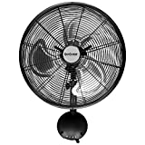 Hurricane Pro Series High Velocity Oscillating Metal Wall Mount Fan, 16' - Black