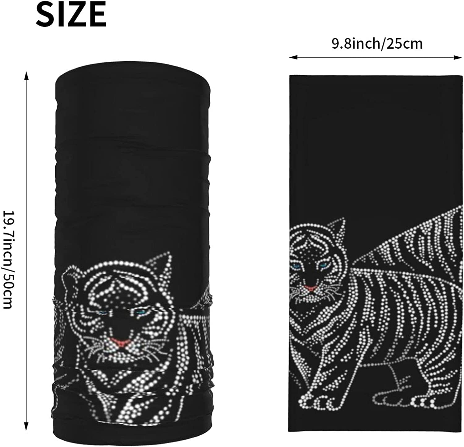 Tiger Cub Point Animal Wildlife Summer Ice Silk Breathable Face Mask Neck Gaiter Scarf Bandanas for Fishing,Hiking,Running,Motorcycle and Daily Wear