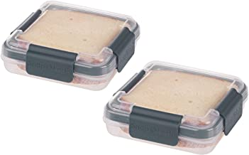SnapLock by Progressive Sandwich To-Go Container - Gray, Easy-To-Open, Leak-Proof Silicone Seal, Snap-Off Lid, Stackable P...