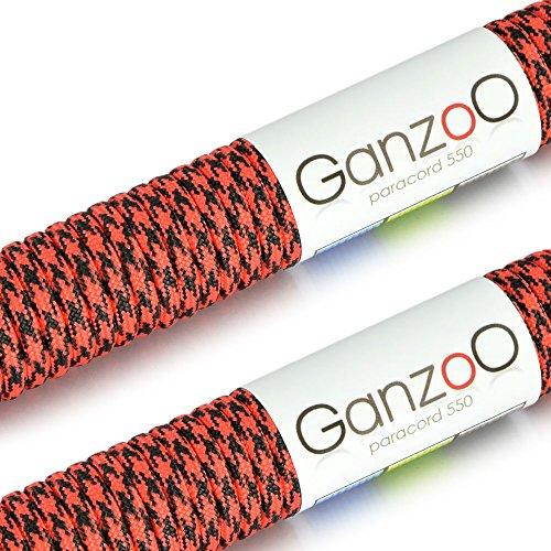 Lot de 2–corde multifonction kernmantel en nylon très résistant et indéchirable «»/«solide type corde de parachute résistance 550 550, longueur 62 m (200 ft)-couleur: rouge/noir-attention: lb/inadapté à l'escalade ganzoo