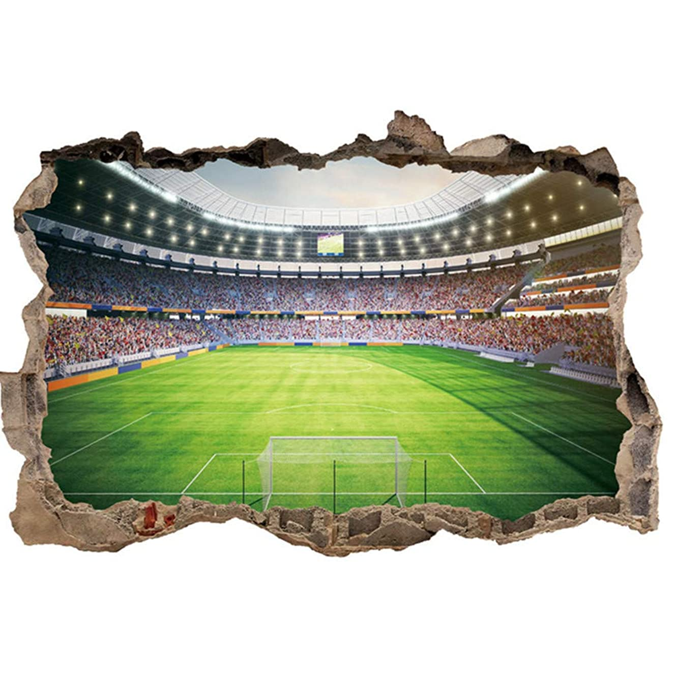 uaswguDFS 3D Football Pitch Broken Wall Wall Stickers, Vinyl Wall Stickers/Park Wall Mural/Removable/Home Decoration Art Decals to Decor for Living Room Decor (5070cm)