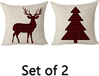 FELENIW Set of 2, Classic Retro Christmas Red and Black Buffalo Checkers Plaids Lattice Christmas Tree Animal Elk Deer Cotton Linen Decorative Throw Pillow Cover Cushion Case 18x18 inches