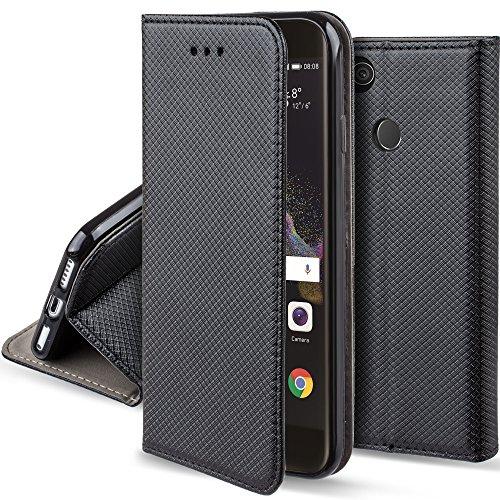 Moozy Hülle Flip Case für Huawei P8 Lite 2017, Schwarz - Dünne Magnetische Klapphülle Handyhülle mit Standfunktion