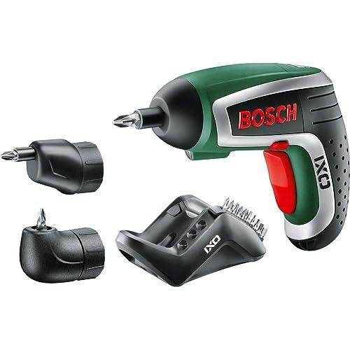 Bosch Visseuse Sans Fil IXO IV Deluxe avec 10 Embouts de Vissage, Renvoi d'Angle, Adapteur Excentrique et Chargeur 0603981002