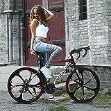 Tengma Road Bike 700C Wheels 21 Speed Disc Brake Mens or Womens Bicycle Cycling (3 Spoke Wheel) Lightweight & Durable Aluminum Full Suspension Mountain Bike Adult Student Bicycle