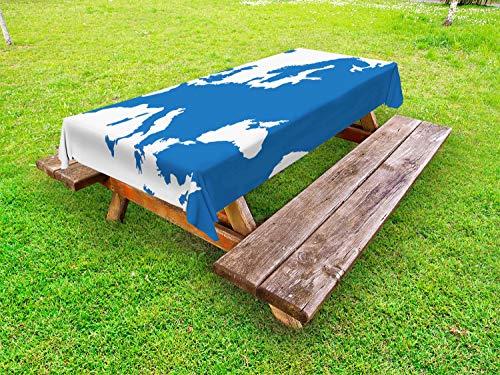 ABAKUHAUS Europa Tafelkleed voor Buitengebruik, Kaart van de Europese landen, Decoratief Wasbaar Tafelkleed voor Picknicktafel, 58 x 84 cm, Sea Blue and White