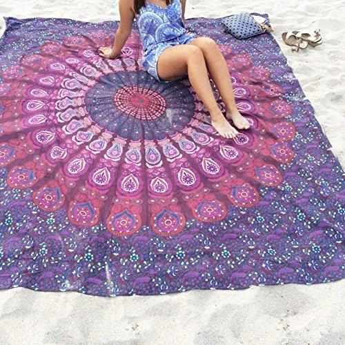 LYFF Toalla de playa con estampado cuadrado de mandala indio, tapiz bohemio, funda de sofá para la playa y yoga