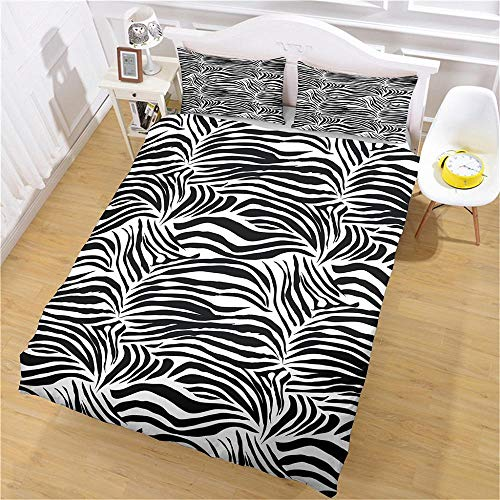DJOIEPO Duvet Cover Set King Size 220X230cm black strips Quilt Cover Ultra Soft Breathable with zipper closure Duvet set with 2 pillow cases 3 Pcs Bed set for adults kids