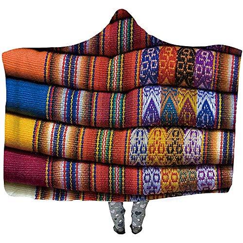 L.R.D Colorida Manta con Capucha de Tiro Textil Peruano, Manta usable de Doble Engrosamiento para Adultos 50