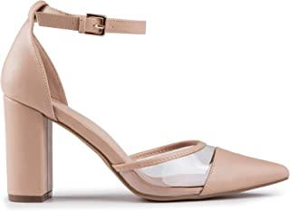 Baldi Women's Kakanda Beige/Black/Red high Heel mid Dress Shoes High Heel Classy Summer Shoes, Pointy Toe Comfy for Office and Outdoor
