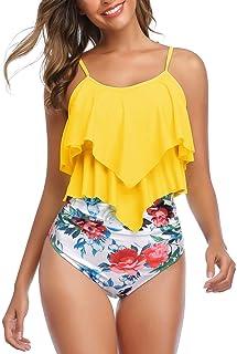 Mycoco Women's High Neck Swimsuit Irregular Hem Tankini Swim Top Halter Bathing Suit