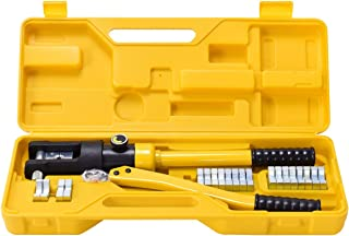 Goplus 16 Ton Hydraulic Wire Crimper Battery Cable Lug Terminal Crimping Tool w/ 11 Dies