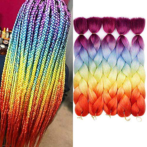 AIDUSA Ombre Colors Braid Kanekalon Hair 5Pcs Synthetic Afro Braiding Hair Extensions 24 Inch 4 Tone for Women Twist Crochet Braids 100g (#60 Rainbow Color)