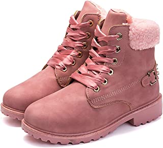 MORNISN Women's Warm Snow Boots Round Toe lace up Ankle Booties Low Heel Short Combat Winter Martin Boots