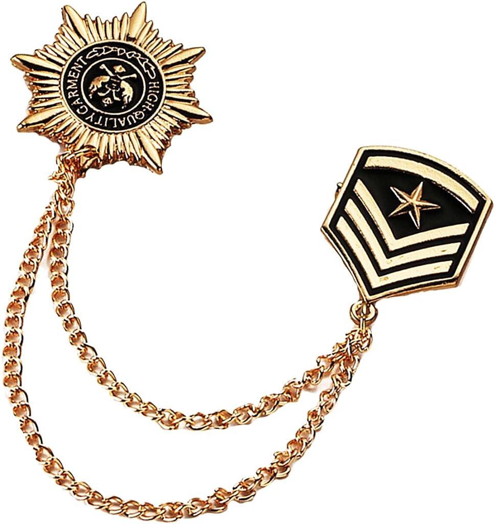 menolana Stylish Men's Stars Tassel Lapel Pin Collar Pin Shirt Stud Brooches