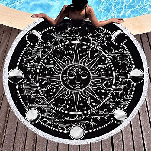Toalla De Playa Redonda De La Serie Moon, Patrón De Impresión Digital De Sol Y Estrella, Toalla De Baño De Microfibra, Alfombra De Playa Absorbente De Secado Rápido 150 * 150cm