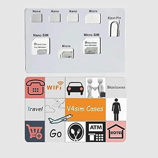 SIMカードアダプターセット&ナノSIMカードホルダーケース、phoneピン針付、SIMカード7枚収納ケース、ナノSIMカード用品質シムコンバーターセット - ブラック (V4simA)