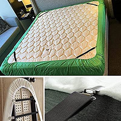 4PCS Triangle Bed Sheet Straps, Adjustable Fitted Holder Clips Suspenders