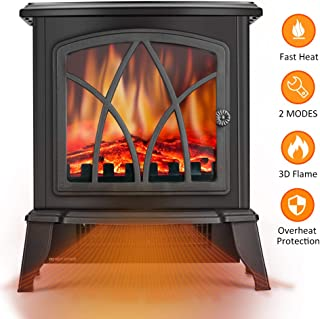 Infrared Space Heater - Electric Space Heater with 3D Flame Effect, 2 Heat Modes, 1500W Ultra Strong Power, Adjustable Flame Brightness, Overheat Protection, Free Standing Fireplace Stove Heater