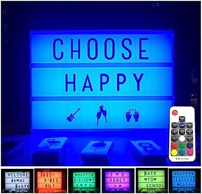 Letter Light Box Caja de luz cinematográficas 7 cartas de color mensajes fiesta de Navidad Caja