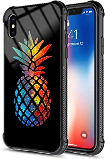 iPhone Xs Case, iPhone X Case Luxury Shiny Tempered Glass Back Cover and Soft Silicone TPU Slim Fit Shock Absorption Bumper Protective Black Case for iPhone Xs/iPhone X - Fashion Pineapple