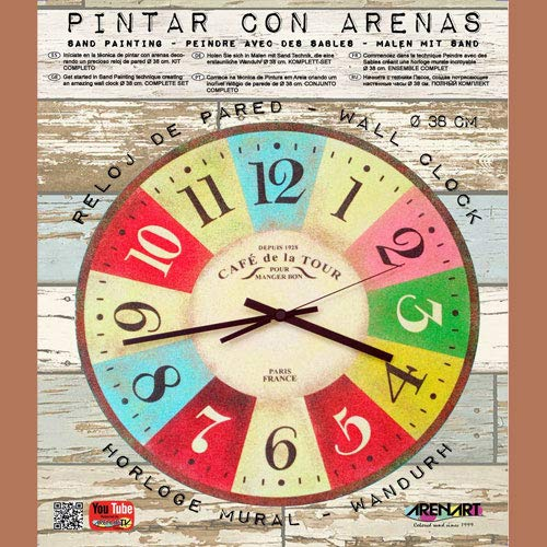 Arenart - Set Pintar con Arenas de Colores - Reloj Café de la Tour Ø 38 cm
