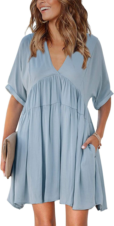 Tiksawon Womens Casual Summer Fashion Floral Printed Ruffle V Neck Long Sleeve Backless Swing Mini Dresses