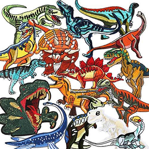 Bügelflicken Kinder, 16 Stück Dinosaurier Aufbügelflicken Bügelbilder Aufnäher Aufbügler Kinder Flicken Patches zum Aufbügeln Bügelpatches Applikation für DIY T-Shirt Jeans