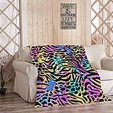 EATRAY Cute Animal Flannel Fleece Throw Blanket, Neon Animal Zebra Jungle Leopard Soft Warm Sherpa Blanket Lightweight Cozy for Bed Couch Bedroom 50 Inch x 60 Inch