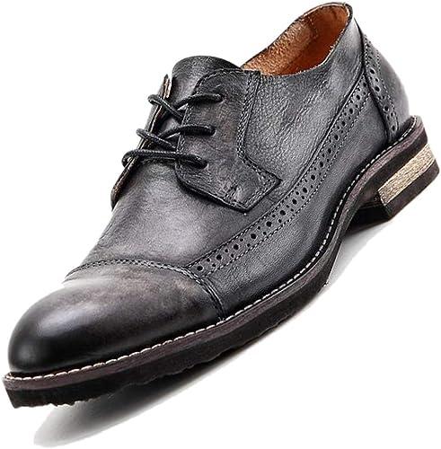azul negro Derby Broch Tallado zapatos Puntiagudos De Los hombres Inglés De Negocios Informal Transpirable Retro Minimalista