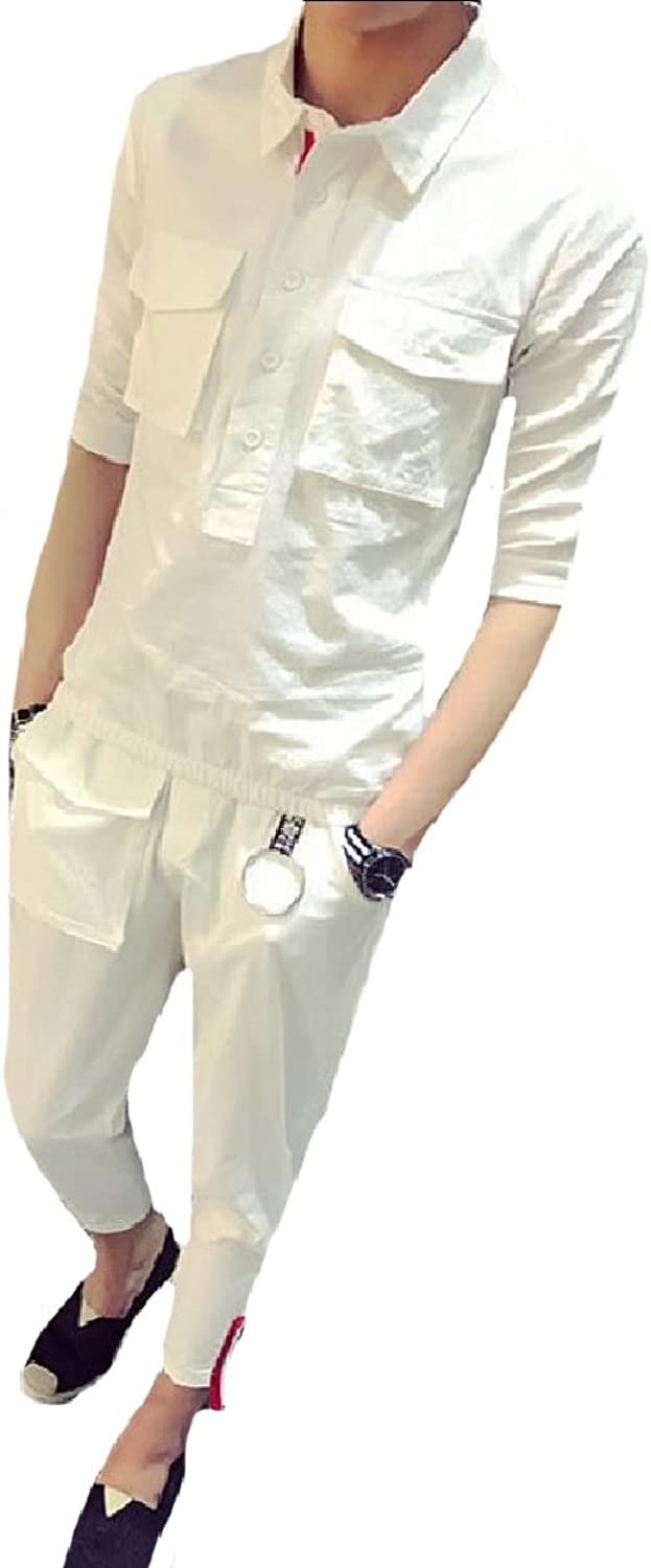 Whitive Mens Summer TurnDown Collar PlusSize Pockets Tracksuit Outfit