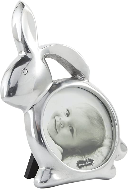 Mud Pie Bunny Photo Frame Baby Nursery Silver 3