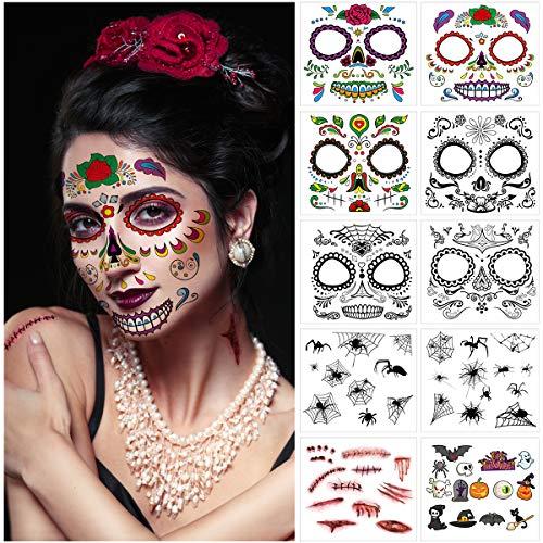 Frcolor Temporär Gesichtstätowierung 10 Blatt Gesicht Tattoos Blut Schnitt-Wunde Kratzer Tatoo für Halloween, Maskerade,Cosplay Party