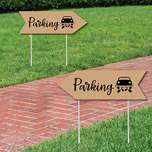 Rustic Wedding Parking Signs - Wedding Sign Arrow - Double Sided Directional Yard Signs - Set of 2 Parking Signs