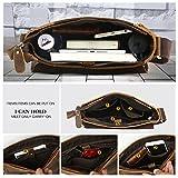 Leathario Herren Umhängetasche Schultertasche Leder 9.7Zoll Ipad mit 5 Steckfächern 25 x 7 x 31 cm für Alltage Freizeit - 7