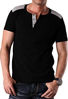 YTD Mens Fashion Casual Front Placket Basic Short Sleeve Henley T-Shirts