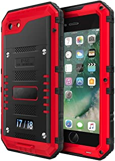 iPhone 7/8 Waterproof Case, CarterLily Underwater Full Body Heavy Duty with Built-in Screen Snowproof Shockproof Dropproof Tough Rugged Hybrid Hard Military Cover for Apple iPhone 7 8 (Red)