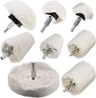 TONGTU Polishing Wheel - 8Pcs White Flannelette Polishing Wheel Cone/Column/Mushroom/T-Shaped Wheel Grinding Head with 1/4 Handle for Manifold/Aluminum/Stainless Steel/Chrome etc.