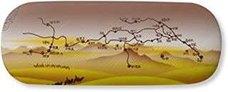 Desert Along the Way to the Silk Road Map Gl Case Eyegl Hard Shell Storage Spectacle Box