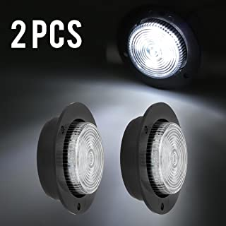 Partsam LED 2 Inch White Flange Mount Led Marker Lights Truck Trailer 6Diode Panel Light, White Led 2