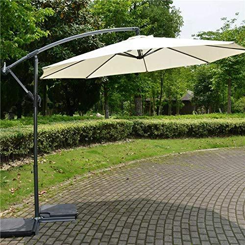Greenbay 3m Banana Parasol - Crank Mechanism Sun Shade Canopy Cantilever Hanging Umbrella for Outdoor Garden Patio...